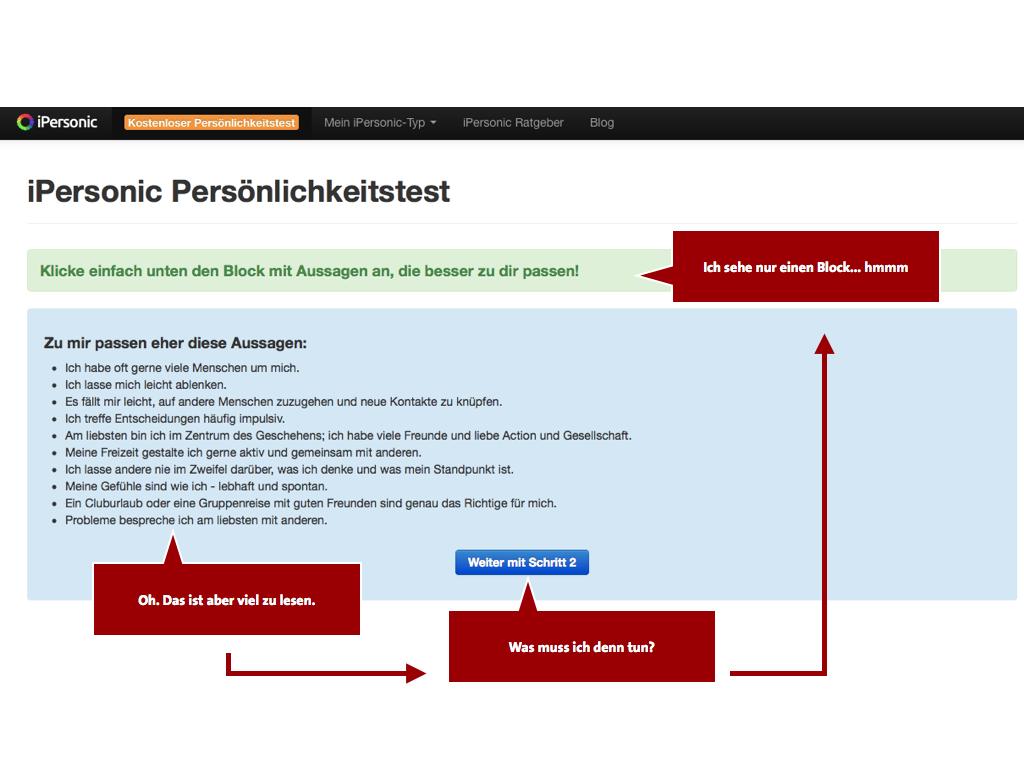 Boutiques en ligne de test de personnalité en bas Optimisation de la conversion