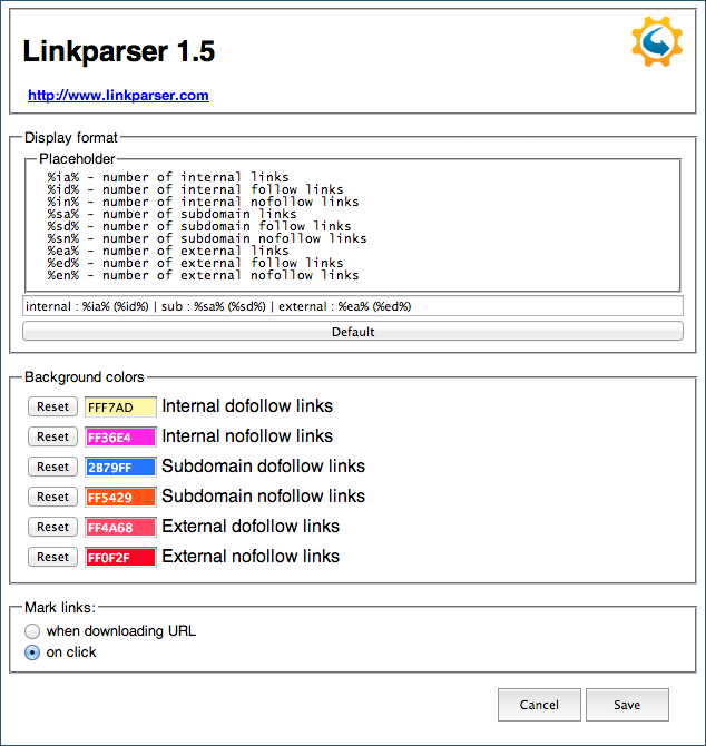 Browser-Plug-in Linkparser Screenshot