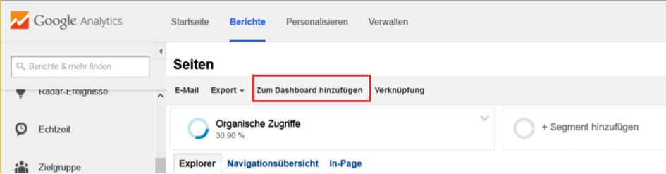 Dashboard SEO Reporting Google Analytics