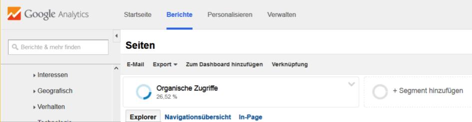 Rapports de référencement organique sur Google Analytics