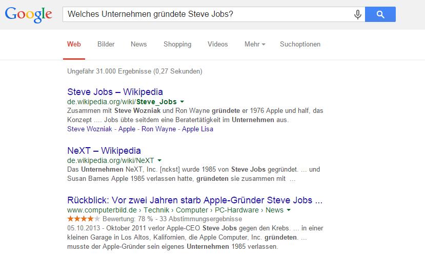 google-search-steve-jobs-company SEO Utilisation Bénéfice Battre les connaissances