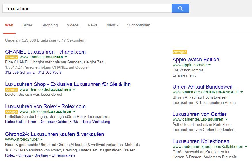 Schirmbacher-Abb4 Recherche SEA law-shop en ligne Annonces Google Enchérir sur les enchères AdWords sur les marques