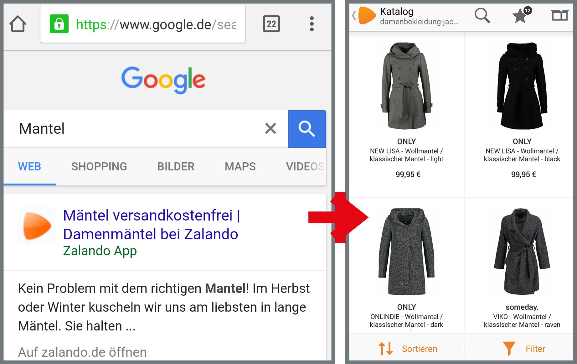 Zalando2 meilleure indexation des applications de classement Google