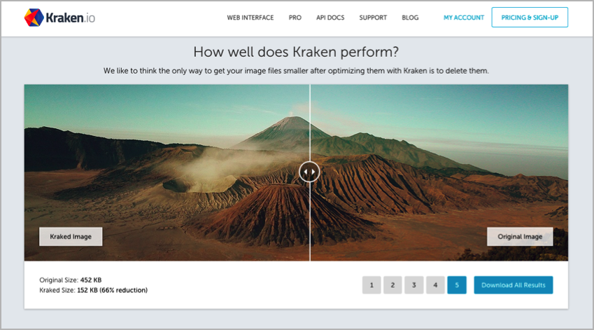kraken8 Compression de code PageSpeed
