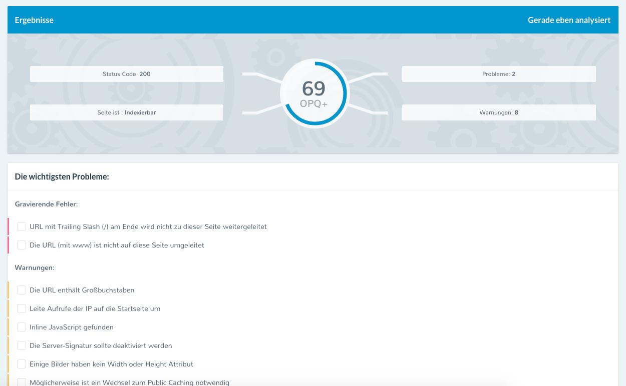 single-page-analysis SEO für Agenturen SEO