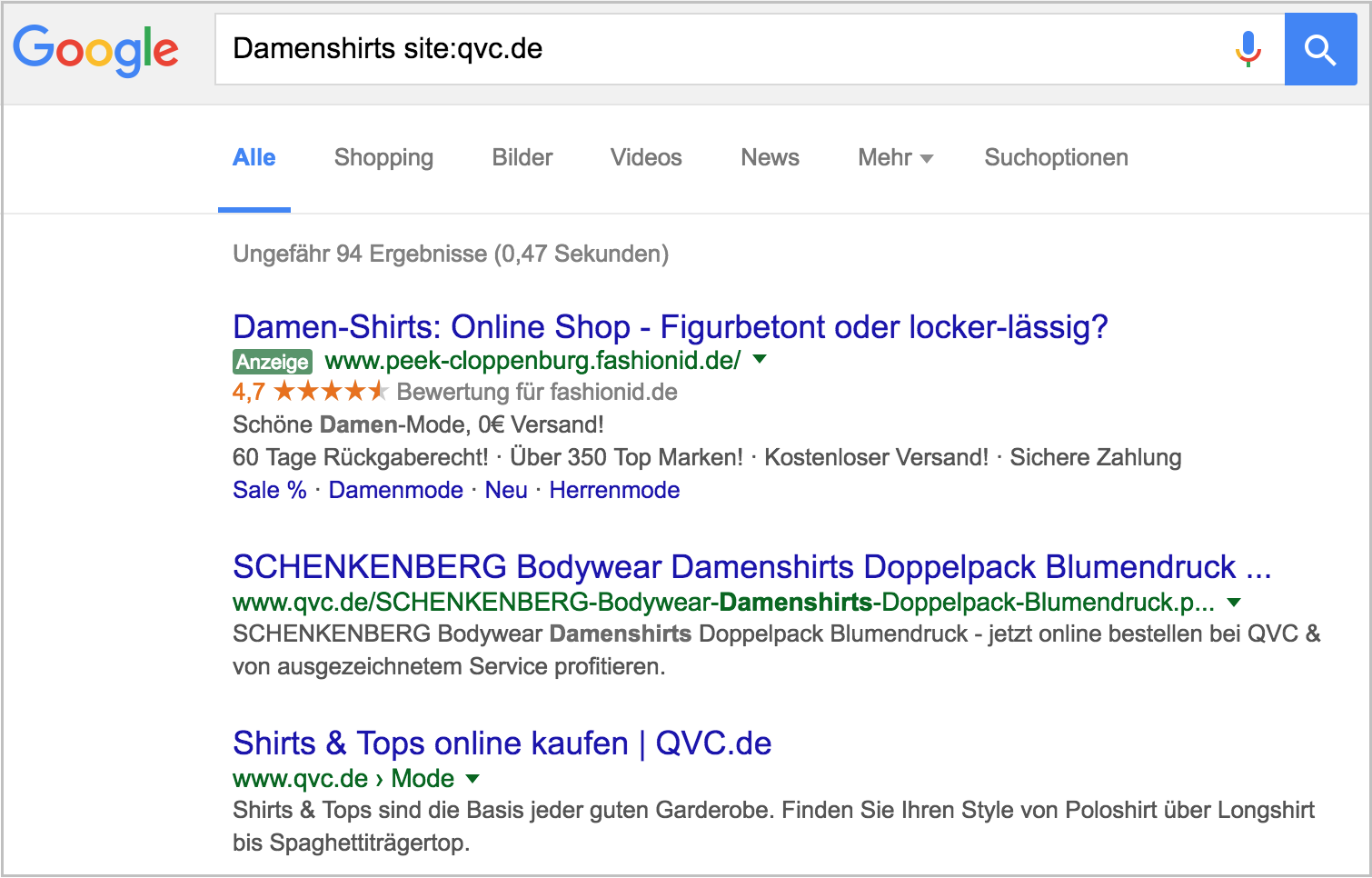 Figure 2-Exemple QVC Rich Snippets Boutique en ligne Rich Snippet