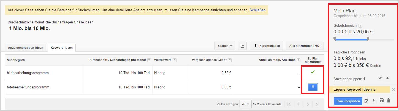Recherche par mot-clé Google Planificateur de mots-clés