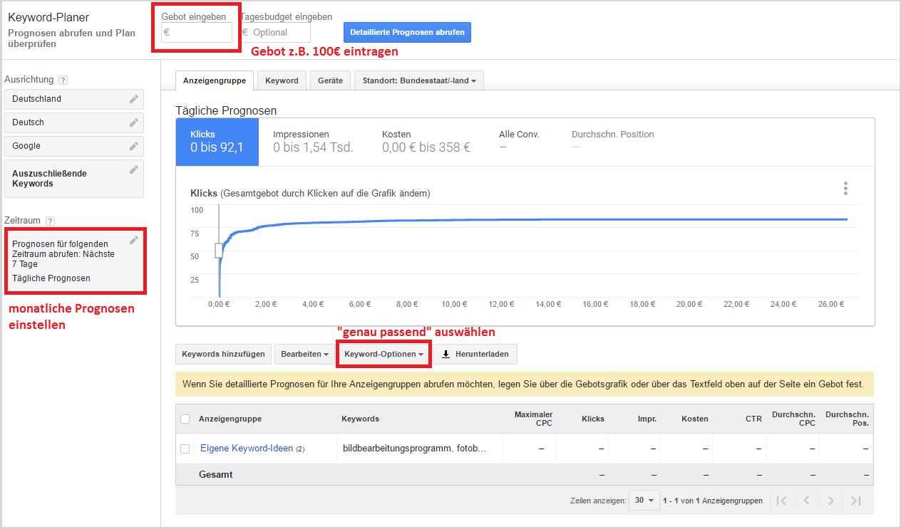 plan-check recherche de mots clés Google Planificateur de mots clés