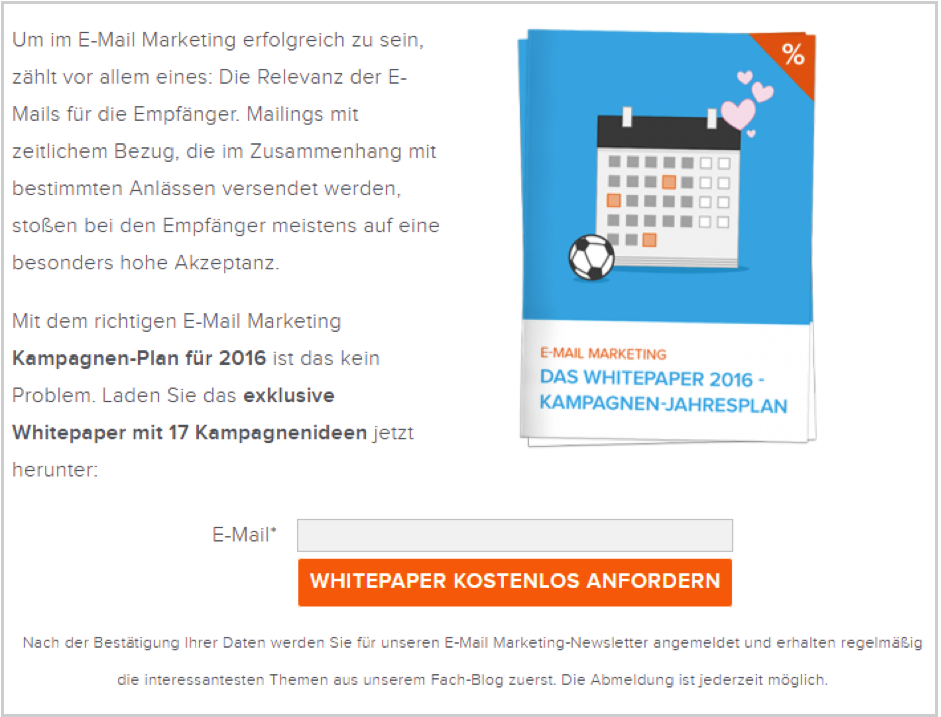 demande d'email marketing