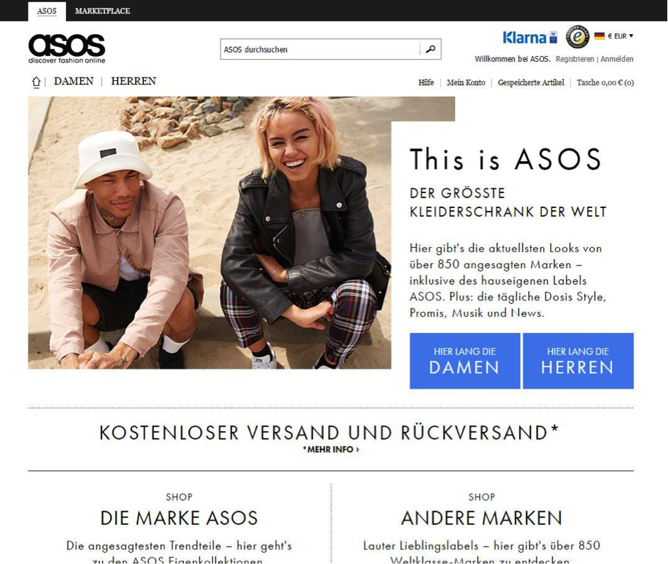 taux de conversion d'optimisation de la conception de sites Web asos
