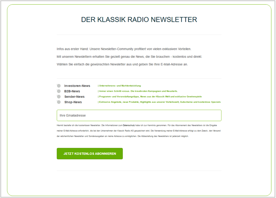 klassik-radio2 Marketing par courriel