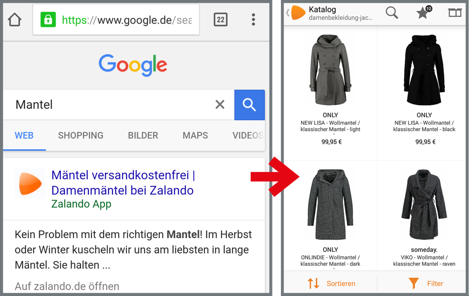Zalando Progressive Apps Native Apps Mobile Optimierung