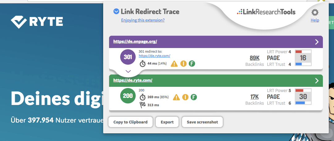 Screenshot des Link Redirect Trace Plug-Ins