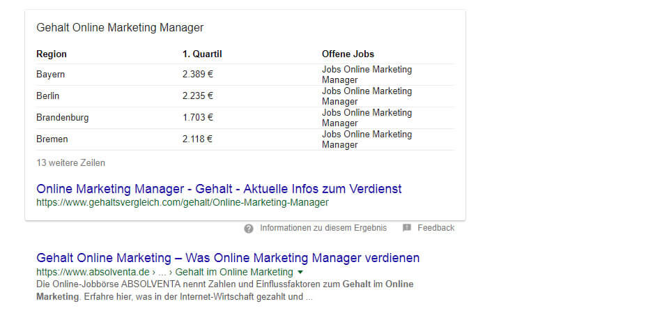 featured-snippet-tabelle SEO Nutzerorientierung