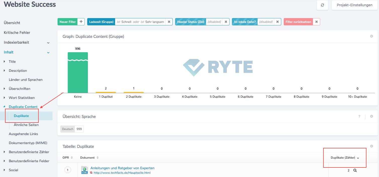Identifikation von Duplikaten im Modul Website Success