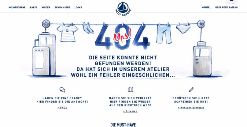 Möglichkeiten zur Interaktion auf der 404-Seite