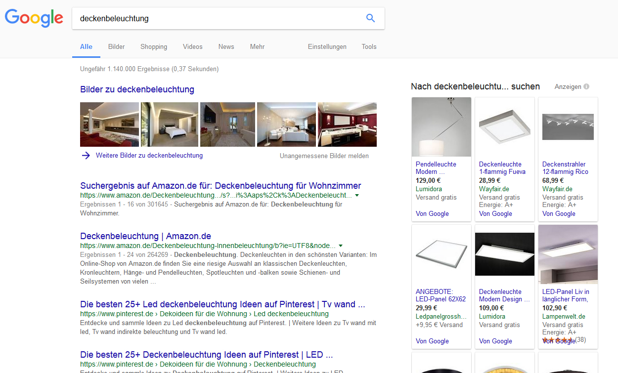 Abbildung6-SERP-Deckenbeleuchtung-User-Intention SEO Basics SEO