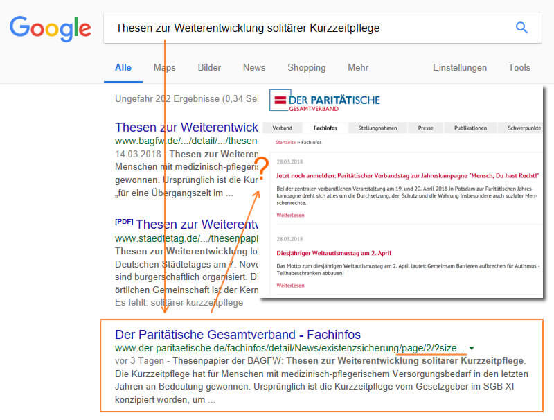 pagination site-in-search association de protection sociale analyse SEO