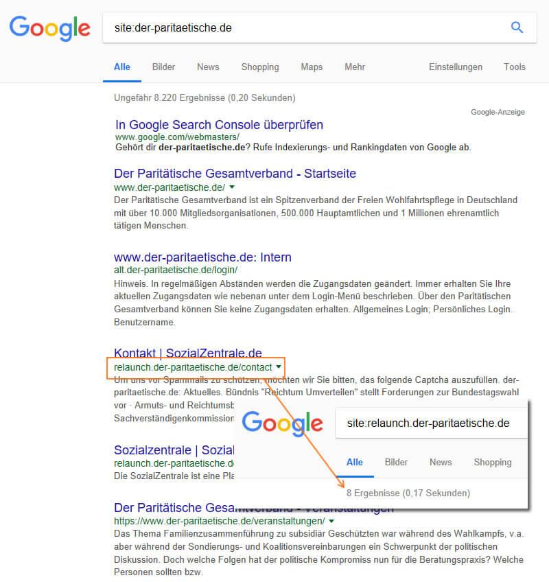 association site-requête-paritaetischer-protection sociale Wohlfahrtsverband SEO Analyse