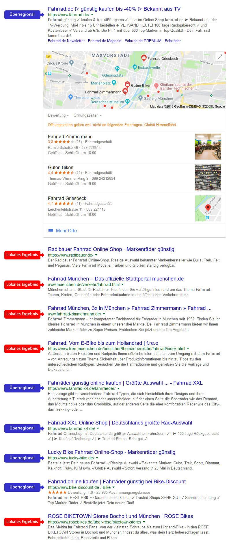 Lokalisierte organische Suchergebnisse