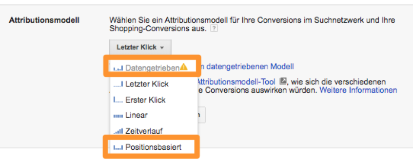 adwords-backend modellierung Attributionsmodellierung