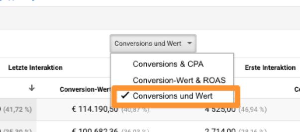 conversion-wert-auswahl modellierung Attributionsmodellierung
