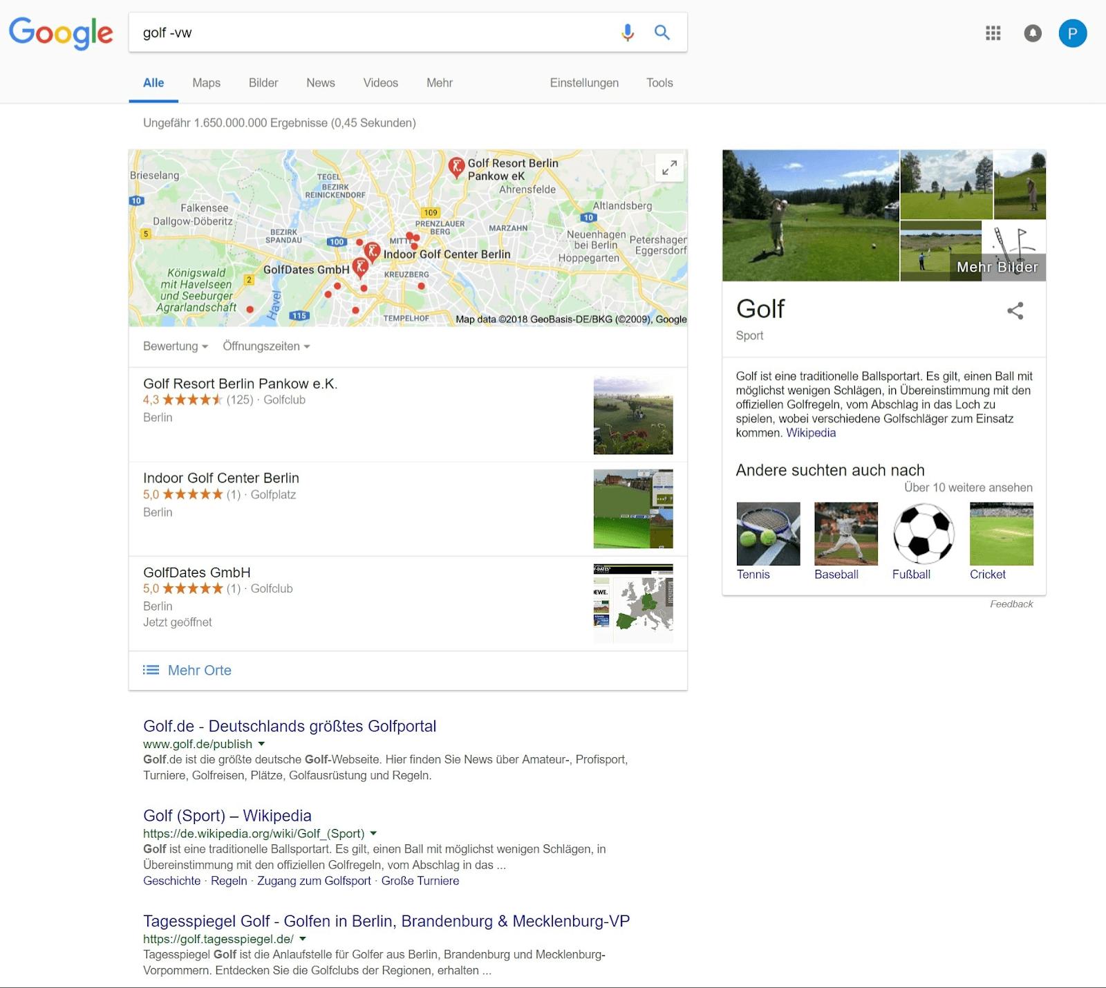 ausschliessende-suche suchbefehle inurl Google