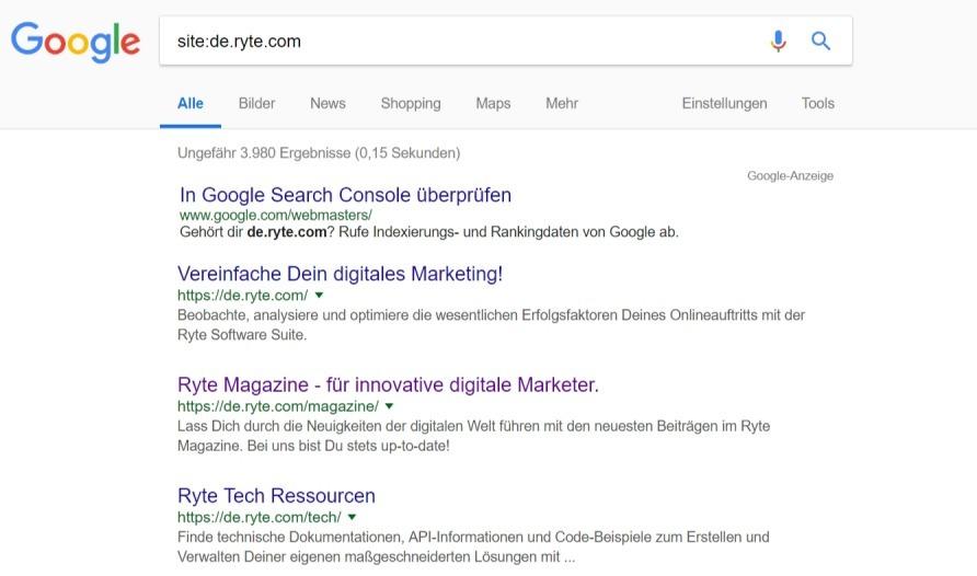 site- suchbefehle inurl Google