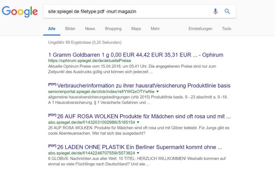 site-1 suchbefehle inurl Google