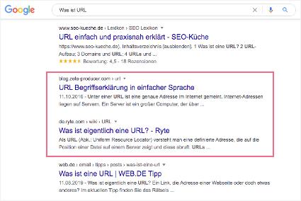 google-suchergebnis-wasisturl