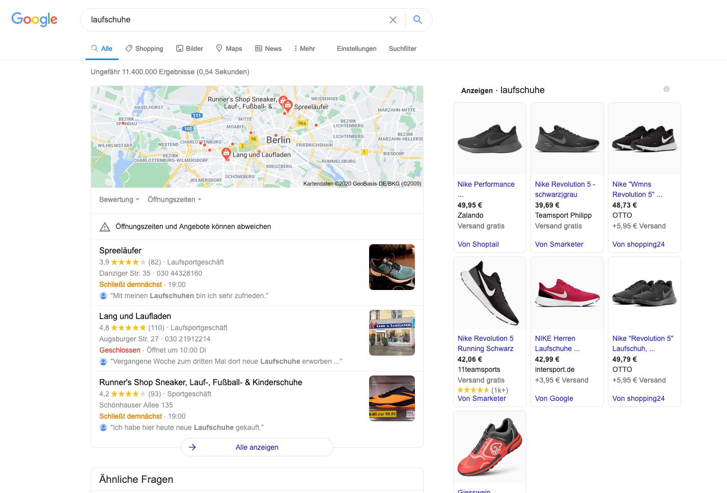 Google-serp-laufschuhe
