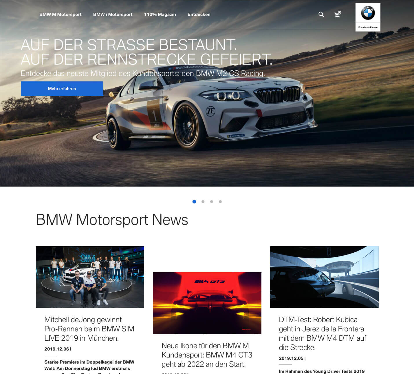 Website-Tuning für BMW Motorsport